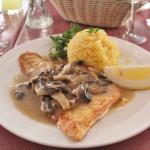 Halibut with Mushrooms and Rice