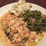 Grilled salmon with cilantro sauce, garlic mashed potatoes and green beans - delicious!