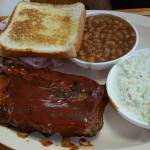 Ribs, coleslaw and baked beans