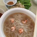 Shrump noodle soup : delicious