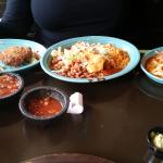 Combo with crab cake, burrito, enchilada
