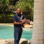 with my son at the pool