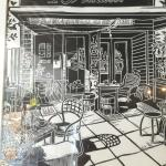 This is a drawing of 16 Feet Expresso. This picture is on the wall of the coffee shop.