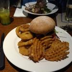 May special: Devil Chicken Burger with waffle fries & onion rings