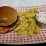 Veggie burger (rock hard), chips (cold and tough) and coleslaw. With a beer more than £10!
