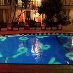 The motel pool outside.