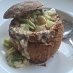Smoked Haddock, leek & potato chowder in a home baked Irish soda bread loaf