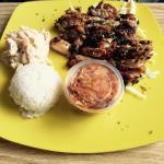 Regular Hawaiian BBQ Chicken - Teriyaki; with Mac Salad, Kimchi, and Rice - Super delish