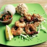 Regular Garlic Shrimp with Mac Salad, Kimchi, and Rice - Super delish
