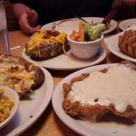 Onion blossom, Loaded baked potato, Chicken fried steak smothered in gravy. Need I say more!