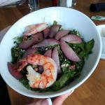 Poached pear salad with shrimp