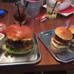 Spicy chili burger and selection of 3