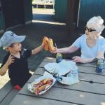 Cheers with hotdogs! The best pulled port sandwiches around!