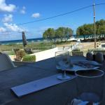 View of private beach at breakfast