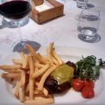 Main course dish of Steak and chips