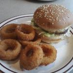Onion rings and Jim Dandy burger