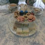 Our table setting. Sandwiches and confections