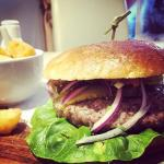 Minted lamb burger