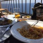 Sea urchin spaghetti and tuna steak