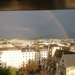 View from room over Geneva with iconic fountain and a lucky rainbow!