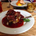 Lamb, wine sauce, potatoes, YUM
