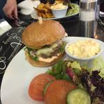 Burger, Quiche and chips