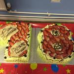 He done our birthday cakes absolutely lovely , been there twice and pizza are absolutely lovely