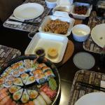 40 pc. Party tray, chicken teriyaki, chicken karage & spicy crab rolls