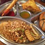 Lunch Special - Pad Thai, peanut butter spring roll, pan dan chicken, crab rangoon