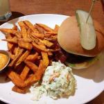 Hawaiian Burger with sweet potato fries.