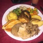 Amazing mixed Sunday roast.. Pork, beef, chicken and lamb. Amazing prices and the Chef is very t