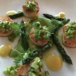 "Delicious sea scallops with ""asparagus three ways"""