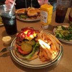 Cheese burger, Belgian waffle, American breakfast