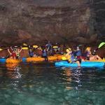 exploring the cave using kayaks