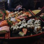One and two boat loads of sushi for happy hour...