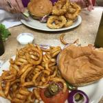 1/2 lb. Bacon Jalepeno Burger and curly fries, Burger & Rings