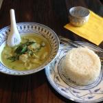 "Green curry fish ""dumplings"" with jasmine rice"