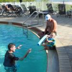 Pool fun with Daddy and Grandpa!