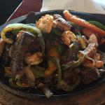 Steak, chicken and shrimp fajitas