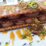 Baklava with crisp phyllo pastry, peanut butter, salty caramel and pistachio nuts