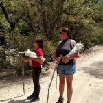 walking back down miller canyon with fresh Rhubarb