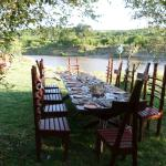 setting for lunch by the Mara River