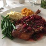 Duck with raspberry glaze