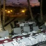 Our table beautifully set up ready for the fire dancers show
