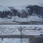 view from the room - a scientific airplane on the runway