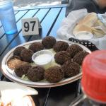 falafel balls, not near enough dipping sauce