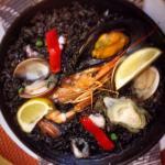 Really tasty black rice paella.
