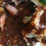 Denver steak with red sauce. . Very worth while.