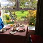 Wonderful breakfast with beautiful views of gardens.