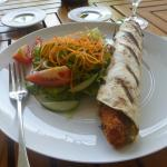 Fish kebab w/ side salad.